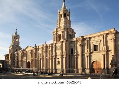 Colorful old Spanish architecture, Arequipa, Peru.