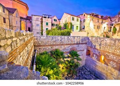 Colorful old stone street of Split historic city center dusk view, Dalmatia region of Croatia