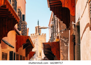 colorful old streets of marrakech medina, morocco