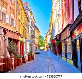 Colorful old town street in Ljubljana, capital of Slovenia