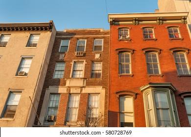 Colorful old townhouses on historic Chestnut street in Philadelphia Center City