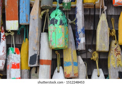 Colorful old vintage fishing buoys