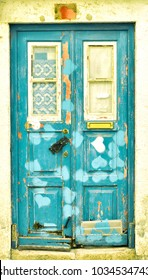 Colorful old vintage retro demaged wooden blue door with heart pattern, Lisbon city Portugal