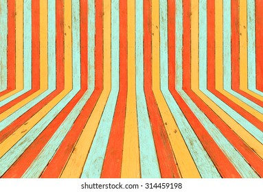 Colorful of old wooden fence