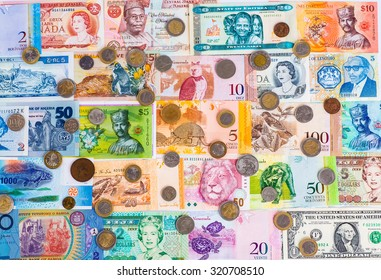 Colorful Old World Paper Money Background Stock Photo (Edit