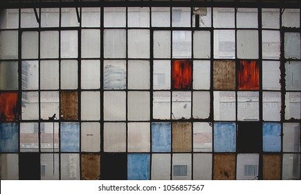 colorful old-fashioned factory windows
