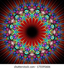 Colorful one fractal flower, digital artwork graphic