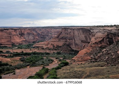 Colorful orange gorge at Canyon de Chelly, National Monument, Colorado, in early morning before sunrise