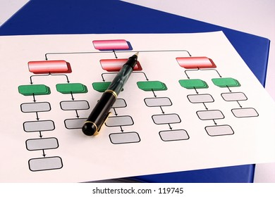 Colorful organization chart with pen.