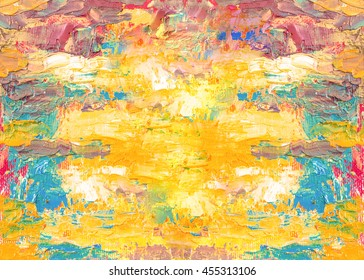 colorful original oil painting texture background, yellow, red and blue  background