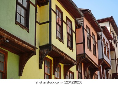 Colorful Ottoman Turkish houses in the Bartin province of Turkey.
