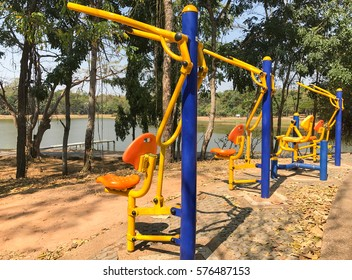 the colorful outdoor exercise machine