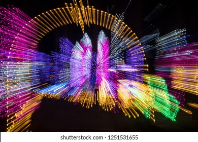 Colorful Outdoor Night Light Painting Abstract Design of Christmas Holiday Lights