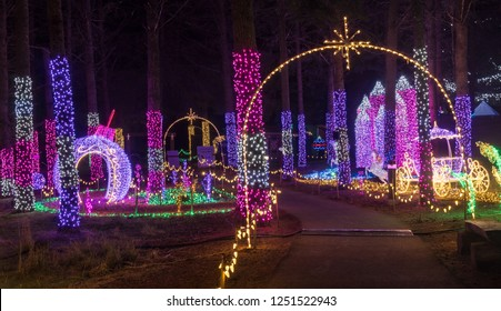 Colorful outdoor park Christmas Holiday Light display
