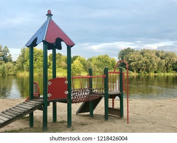 A colorful outdoor playground on a beach by the lake in Rzeszow, Poland.