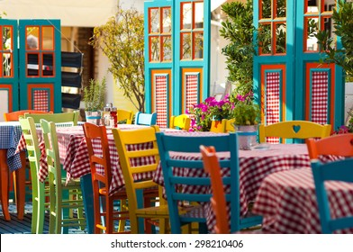 Colorful outdoor restaurant