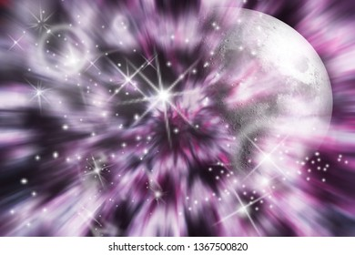 Colorful outer space Nebula and interstellar cloud of stars and moon in science fiction design.