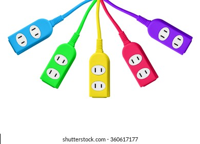A lot of colorful outlet plug