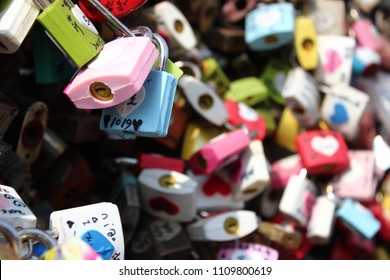 colorful padlocks on Seoul tower. Seoul, South Korea. Bless for luck in love.