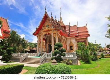 Colorful pagoda Wat Chalong in Phuket, Thailand