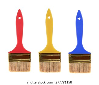 colorful Paint brush isolated on white.