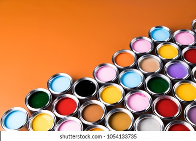 Colorful paint cans set