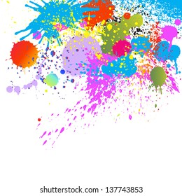 Colorful paint drops ink splashes grunge illustration background. For vector version, see my portfolio.