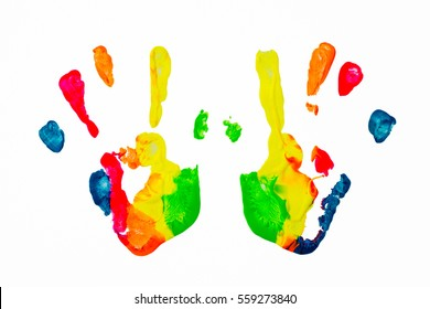 Colorful paint hand print over white background