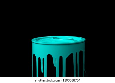 Colorful paint leaking down on wall of metal bucket. Isolated over black background