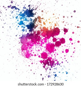Colorful paint splatter on white background