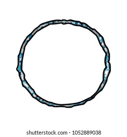 Colorful paint splattered circle or hollow ring shape in a 3D illustration with a blue color paint or ink splotch effect and jagged edge font isolated on a white background with clipping path.