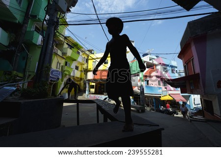 Colorful painted buildings of Favela Santa Marta in Rio de Janeiro Brazil with silhouette