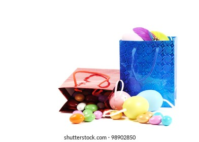 Colorful painted Easter eggs in a shopping bag, white background