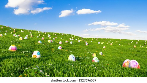 Colorful Painted Eggs in the grass of a meadow for easter