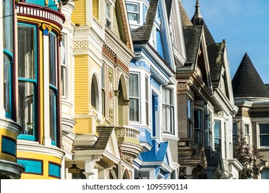 Colorful painted facade Victorian architecture row houses in San Francisco , California , USA colorful facade and appearance of homes along city streets called the Painted Ladies along historic street