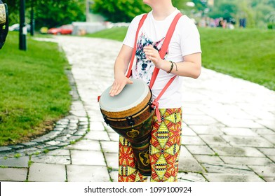 Colorful painted goblet drum (chalice drum,darbuka, doumbek, or tablah)