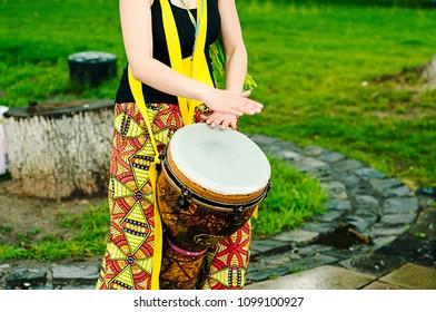 Colorful painted goblet drum. chalice drum,darbuka, doumbek, or tablah