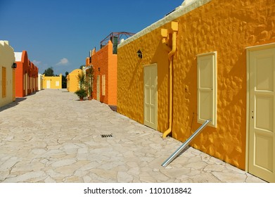 Colorful painted greek style houses and mediterranean styled streets of Balatonfured, Greek town cultural and party centre, Hungary
