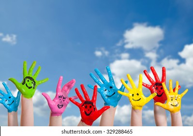 colorful painted hands