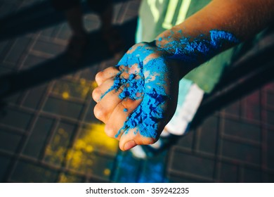 Colorful painted hands. Holi color festival.