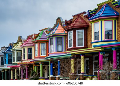 The colorful Painted Ladies row houses, on Guilford Avenue, in Charles Village, Baltimore, Maryland.