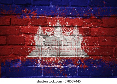 colorful painted national flag of cambodia on a old brick wall
