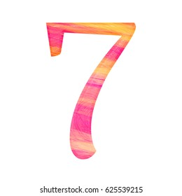 Colorful painted wood style number seven 7 with a fun pink and yellow color wooden beveled effect part of alphabet #44F2 isolated on a white background with clipping path.