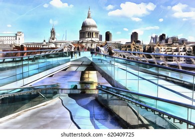Colorful painting of cityscape view of St. Paul's Cathedral from Millennium Bridge