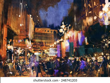 colorful painting of night street,illustration art