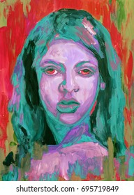Colorful painting portrait of girl