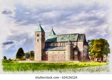 Colorful painting of romanesque collegiate church