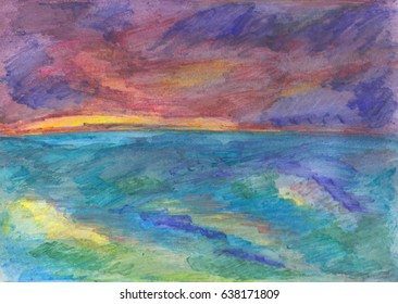 An colorful painting of the sea and sky with textured brush strokes.  The large waves of blue and green, have yellow reflections from the dramatic sky.