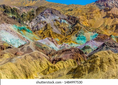 Colorful Artist's Palette rocks on the mountain side in Death Valley National Park, California, USA