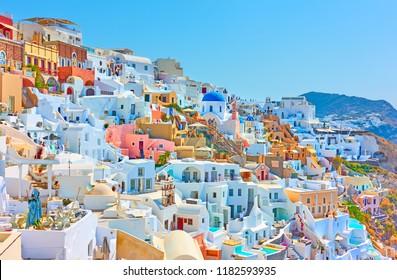 Colorful panoramia of Oia town in Santorini, Greece
